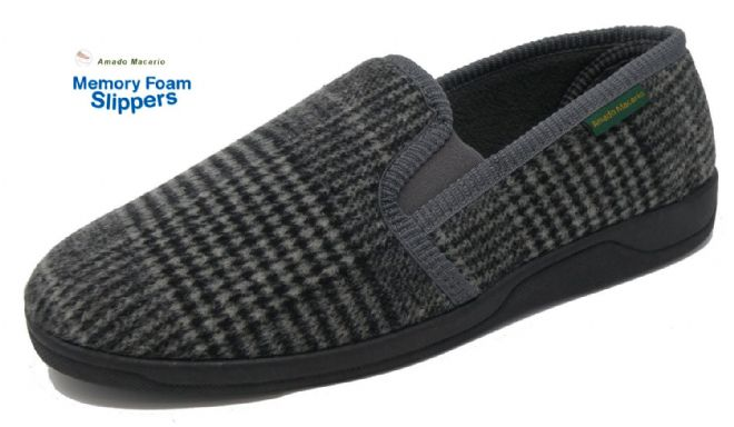 Men's Classic Check Slippers Dk Grey